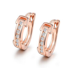 HUCHE Retro Rose Gold Filled Channel Diamond Crystal Women Wedding Party Earring