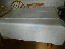 VINTAGE STAMPED EMBROIDERY IRISH LINEN TABLECLOTH - 45 INCHES SQUARE