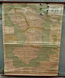 ANTIQUE GREECE CHIOS RARE AUTHENTIC MAP CHIOS ISLAND.KONSTANTINOS KANELAKIS 1903