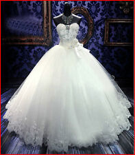 Stock New White/Ivory Wedding Dress Ball Gown Long Bridal Gown SZ6+8+10+12+14+16