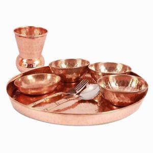 Copper Hammered Thali Dinner Set Restaurant Serveware Dinnerware Kitchen Gift