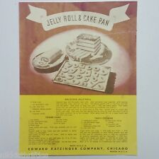 Vintage Edward Katzinger Company Chicago Jelly Roll & Cake Pan Recipe Insert