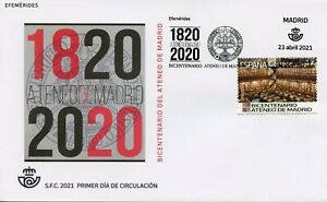 Spain Architecture Stamps 2021 FDC Ateneo de Madrid Bicentenary Library 1v Set