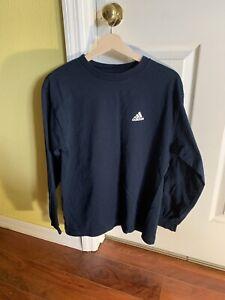 adidas Men's Medium Navy Long Sleeve Crewneck Tee Shirt Athletics Logo