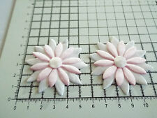 2x Satin White/Pink with White Big Appliqu- Daisy Motif,Trimmings,Wedding, 5.5cm