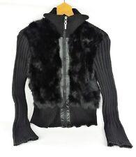USA LEATHER Black Knit Jacket with Rabbit Fur - Size Medium