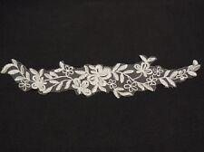 off white bridal wedding floral organza lace applique lace motif for sale 30x6cm