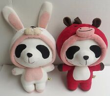 "Panda House 10"" Plush Stuffed Animal Pandas Bunny and Horse Costume set of 2"