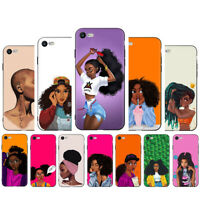 African Beauty girl Soft TPU Black Phone Case for iPhone XS Max XR X 8 7 6 Plus