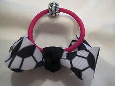 Ponytail Holder Soccer Ball Ribbon Theme Rhinestone Center No Metal Ouchless G