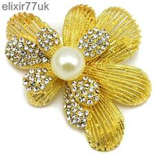 NEW LARGE GOLD FLOWER & PEARL BROOCH DIAMANTE CRYSTAL WEDDING BRIDAL GIFT BROACH