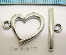 1x ANTIQUE STERLING SILVER SWEET HEART CLASSIC TOGGLE CLASP 14mm #682