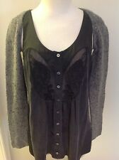 DKNY GREY MARLE BEADED LAMBSWOOL & ANGORA SHRUG CARDIGAN SIZE PETITE