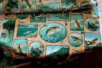 "VINTAGE FABRIC BASS FISHERMAN/LAKE PRINT,FUN NOVELTY,OFF THE BOLT ,45"" WIDE,1 YD"