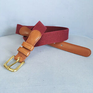 COACH Woven Linen & Leather Belt With Gold Tone Buckle Burgundy Sz 30