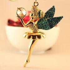 Angel Wing Ballet Girl Blue Keychain Rhinestone Crystal Key Ring Cute Gift 01184