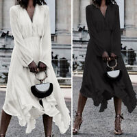 Women Long Sleeve V Neck Midi Dress Evening Cocktail Party Swing Dresses UK 8-26