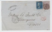 GB STAMPS 1859 WRAPPER LONDON TO PARIS 2d & 6d POSTAGE POSTAL HISTORY