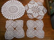4 white Vintage Hand Crochet crocheted Doilies variety of patterns sizes