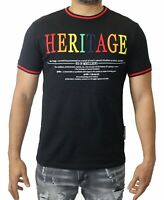 Heritage America Men T-Shirt Black Size Small S Graphic Tee Embroidered $48 #041
