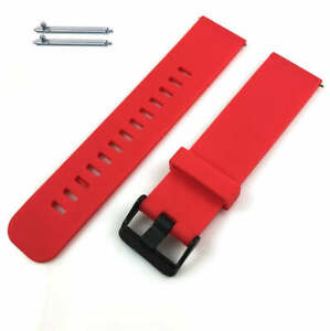 Red Soft Silicone Watch Band Strap With Black Buckle Quick Release Pins #4104