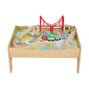 Wooden Train Railway Activity Track Set Play Table with Storage Drawer 54 PCS FR