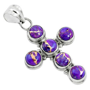 JAIPUR SILVER 7.66cts Purple Copper Turquoise Silver Holy Cross Pendant P35965