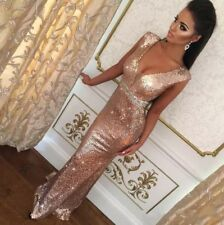 Sexy Rose Gold Evening Dresses Sequins Mermaid V Neck Backless Prom Bridal Gowns