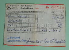 1975 Ontario Canada Non Resident Angling Fishing License Permit