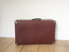 Vintage 1950s Small Size Hard Case Suitcase in Burgundy Red -  Luggage / Storage