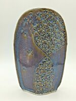 """Vintage Marked 6"""" Tall Lavender Studio Pottery Ovoid Pillow Vase, VG Cond. NICE!"""