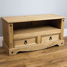 Corona Flat Screen TV Unit Stand 2 Drawer Mexican Solid Pine By Home Discount