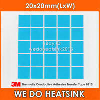 15pcs 3M 8810 20x20mm Blue Thermal Double Sided Adhesive Transfer Heatsink Pads