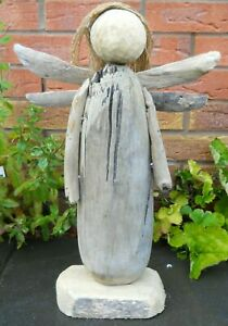 Amazing Quality Hand Made Driftwood Wooden Angel 48 cm Garden Patio Home Decor