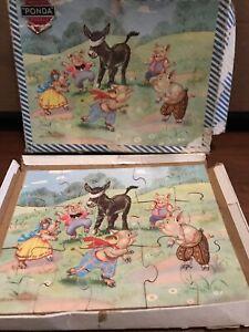 Vintage Ponda Wooden jigsaw puzzle Helen Haywood Pigs/donkey 15 Piece
