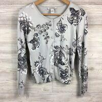 White House Black Market Metallic Weave Floral Cardigan Sweater XS Gray Silver