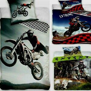 Reversible Motocross Bedding Set Duvet Quilt Cover 100% Cotton Single