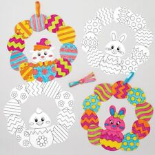 4 Easter Egg Colour in Wreaths Kit Kids Crafts Decorate Creative Activity Paint