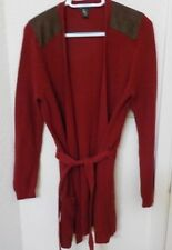 Ralph Lauren Long Belted Suede Accent Maroon Cardigan Sweater Ladies Large