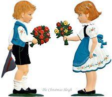 Artist Wilhelm Schweizer German Standing Pewter Zinn - Boy & Girl w/ Bouquet Set