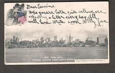 1907 NY Lower Harbor pc Coleraine to Miss Renton Strand House School Londonderry