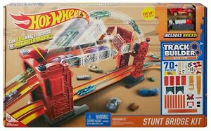 Hot Wheels 70 Pc Track Builder Stunt Bridge Kit Featuring Mega Construx Age 5+