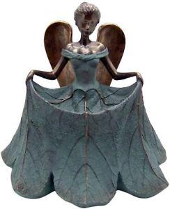 13 Inch Beautiful Angel In Curtsy Position Bird Bath