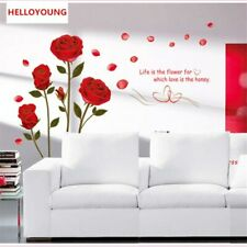 Wall Sticker Removable Phnom Penh Red Rose Flower DIY Three-Dimensional