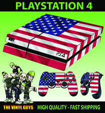 PS4 Skin American Flag USA Stars and Stripes Sticker + Pad decals Vinyl LAY FLAT
