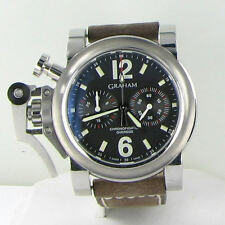 Graham Oversized Chronofighter 2OVASB02AL31B Black Dial Brown Strap Watch $9995