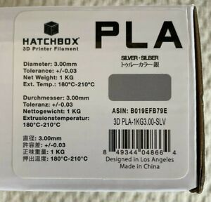 HATCHBOX PLA 3D Printer Filament 1 kg Spool, 3.00 mm, Silver