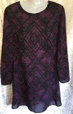 Designer Kelso Semi Sheer Purple Black Geo Paisley Long Sleeve Smock Dress Sz 8