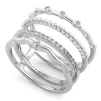 925 Sterling Silver Stacked Band and Cubic Zirconia Ring All Sizes