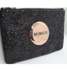 MIMCO Small Pouch Black Glitter Wallet Purse Clutch Rosegold Bag BNWT Authentic